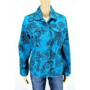 Chico's Women Jacket Blazer Blue Black Floral